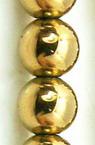 Șireturi mărgele piatră semiprețioasă HEMATIT bile aurii non-magnetică 8mm ~ 48 bucăți