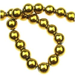Gemstone Beads Strand, Non-Magnetic Synthetic Hematite, Golden color, Round, 10mm, ~43 pcs