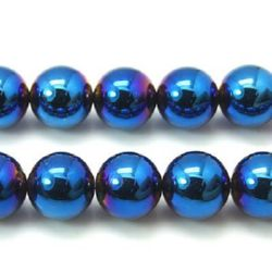 Gemstone Beads Strand, Non-Magnetic Synthetic Hematite, Blue, Round, 6mm, ~67 pcs