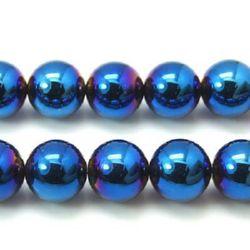 Наниз мъниста полускъпоценен камък ХЕМАТИТ немагнитен цвят син топче 8 мм ~54 броя