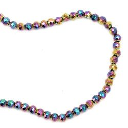 Gemstone Beads Strand, Non-Magnetic Synthetic Hematite, Colorful, Faceted, 8mm, ~58 pcs