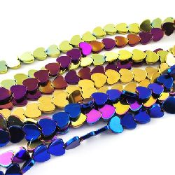 Gemstone Beads Strand, Non-Magnetic Synthetic Hematite, Heart, Grade A, 8x8x2mm, ~100 pcs