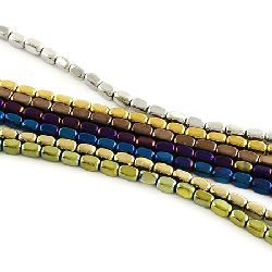 Gemstone Beads Strand, Non-Magnetic Synthetic Hematite, Cylinder, Faceted, 5x3x3mm, ~82 pcs