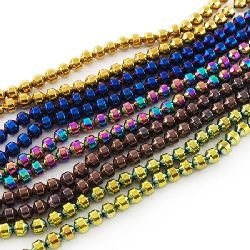 Gemstone Beads Strand, Non-Magnetic Synthetic Hematite, Round, Faceted, Grade A, 8x8mm, ~50 pcs