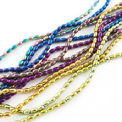 Gemstone Beads Strand, Non-Magnetic Synthetic Hematite, Oval, 5x3x3mm, ~82 pcs