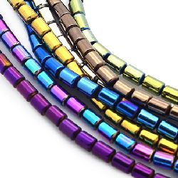 Gemstone Beads Strand, Non-Magnetic Synthetic Hematite, Cylinder, 5x4mm, ~75 pcs