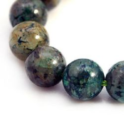 Gemstone Beads Strand, Chrysocolla, Round, Grade A, 10mm, ~39 pcs