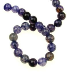 String beads natural stone Agate cracked purple ball 8 mm ~ 48 pieces