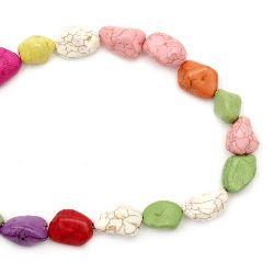 Наниз мъниста полускъпоценен камък ТЮРКОАЗ синтетичен многоцветен камъче 14-18~25 мм ~24 броя