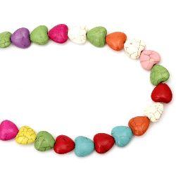 Наниз мъниста полускъпоценен камък ТЮРКОАЗ синтетичен многоцветен сърце 13x14x7 мм ~31 броя