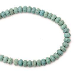 Наниз мъниста полускъпоценен камък ТЮРКОАЗ синтетичен абакус многостенен 13x8 мм ~50 броя