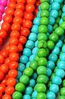 Наниз мъниста полускъпоценен камък ТЮРКОАЗ синтетичен асорте цветове топче 12 мм ±32 броя