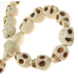 Strand de margele de piatră prețioasă, turcoaz sintetic, craniu, 10x12x13mm, ~ 26 buc