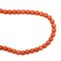 Наниз мъниста полускъпоценен камък ТЮРКОАЗ синтетичен оранжев тъмен топче 8 мм ±50 броя