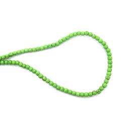 Наниз мъниста полускъпоценен камък ТЮРКОАЗ синтетичен зелен топче 4 мм ±96 броя