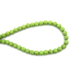 Margele de sfoară piatră semiprețioasă TURCOASE bilă verde sintetică 8 mm ± 48 bucăți