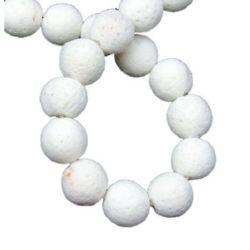 Наниз мъниста полускъпоценен камък КОРАЛ бял топче 10 мм ~44 броя