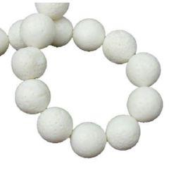 Наниз мъниста полускъпоценен камък КОРАЛ бял топче 12 мм ~34 броя