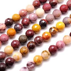 "Grade ""Ä"" MOOKAITE JASPER Round Faceted Beads Strand 10mm ~ 38 pcs"