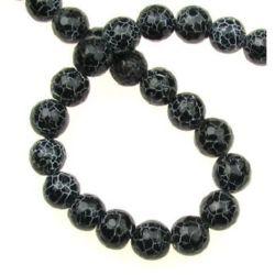 Наниз мъниста полускъпоценен камък АХАТ черен напукан топче фасетирано 10 мм ~38 броя