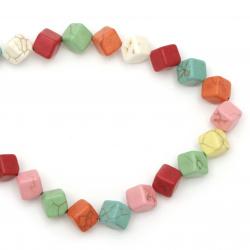Наниз мъниста полускъпоценен камък ТЮРКОАЗ синтетичен многоцветен куб 10x10 мм ~28 броя