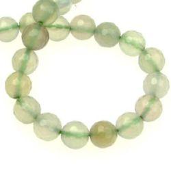Наниз мъниста полускъпоценен камък АХАТ бледо зелен топче фасетирано 8 мм ~48 броя