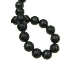 Perla semiprețioasă din margele de 12 mm pictată negru ONYX bila mată din piatră semi-prețioasă ~ 32 bucăți