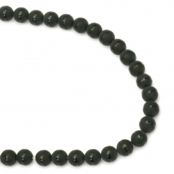 Gemstone ONYX black painted matte ball 10 mm ~ 38 pieces