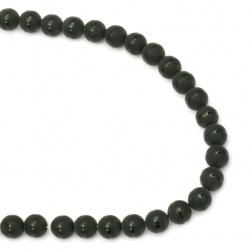 Наниз мъниста полускъпоценен камък ОНИКС черен рисуван матиран топче 10 мм ±38 броя