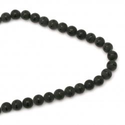 Наниз мъниста полускъпоценен камък ОНИКС черен рисуван матиран топче 12 мм ±33 броя