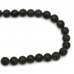 Наниз мъниста полускъпоценен камък ОНИКС черен рисуван матиран топче 14 мм ±28 броя