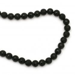 ОНИКС черен рисуван матиран топче 10 мм наниз мъниста полускъпоценен камък ~39 броя