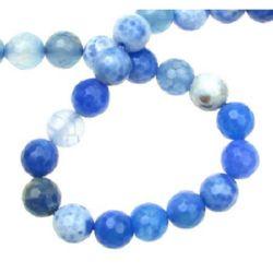 Наниз мъниста полускъпоценен камък АХАТ син микс топче фасетирано 8 мм ±48 броя