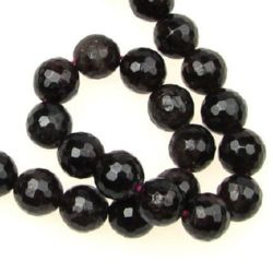 Natural Garnet semi-precious stone, round faceted beads strand,  8 mm ~ 49 pieces
