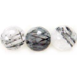 КВАРЦ ТУРМАЛИНОВ топче фасетирано 12 мм наниз мъниста полускъпоценен камък ~32 броя