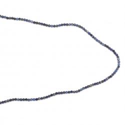 Наниз мъниста полускъпоценен камък ЛАЗУРИТ ЛАПИС топче фасетирано 2 мм  ~183 броя