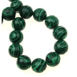 Gemstone Beads Strand, Synthetic Malachite, Faceted, Round, 12mm, 32 pcs