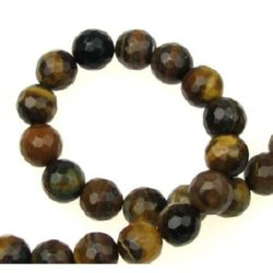"""Grade """"B"""" TIGER'S EYE Round Faceted Beads Strand 8 mm ~ 48 pcs"""