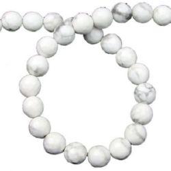 Perle cu șnur din piatră semiprețioasă margele albă HOWLIT fațetată 8 mm ~ 49 bucăți