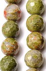 Наниз мъниста полускъпоценен камък УНАКИТ НАТУРАЛЕН топче фасетирано 6 мм ~66 броя