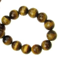 """Grade """"A"""" TIGER'S EYE Round Faceted Beads Strand 8mm ~ 48 pcs"""