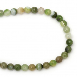 String beads  striped  stone Agate green bead faceted 8 mm ~ 48 pieces