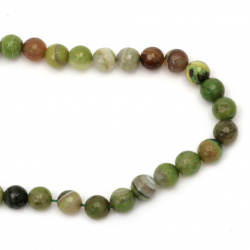 String beads  striped  stone Agate green bead faceted 12 mm ~ 32 pieces