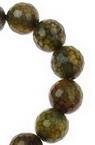 Наниз мъниста полускъпоценен камък АХАТ жълто-зелен топче фасетирано 10 мм ±38 броя