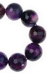 Наниз мъниста полускъпоценен камък АХАТ лилав топче фасетирано 14 мм ~27 броя