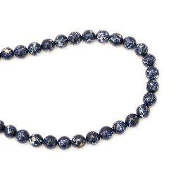 Наниз мъниста полускъпоценен камък АХАТ синтетичен син тъмен топче 10 мм ~40 броя