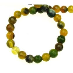 Наниз мъниста полускъпоценен камък АХАТ ивичест жълто-зелен топче фасетирано 6 мм ~65 броя