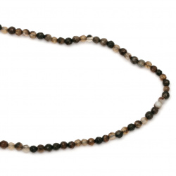String beads faceted stone Agate brown mixed  ball 4 mm ~ 96 pieces