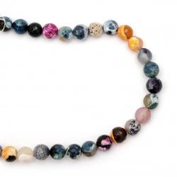Наниз мъниста полускъпоценен камък АХАТ оцветен многоцветен топче фасетирано 10 мм ±37 броя