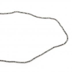 Наниз мъниста полускъпоценен камък ХЕМАТИТ немагнитен топче фасетирано 3 мм  ~128 броя